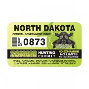 "North Dakota Zombie Hunting Permit 4"" Sticker Decal"