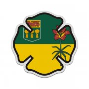 Saskatchewan Flag Firefighter Decal SK Fire Maltese Cross Sticker