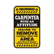 Carpenter Warning Yellow Decal Carpentry Vinyl Hard Hat Window Sticker