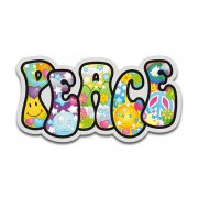 Peace Word Psychedelic Decal Earth Hippie Love Happiness Sticker V2