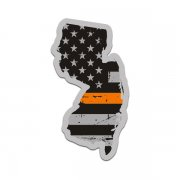 New Jersey State Orange Line Decal NJ Tattered American Flag Sticker