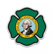Washington State Flag Firefighter Decal WA Fire Rescue Maltese Cross Sticker