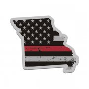 Missouri State Thin Red Line Decal MO Tattered American Flag Sticker