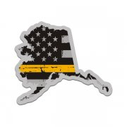 Alaska State Thin Gold Line Decal AK Tattered American Flag Sticker