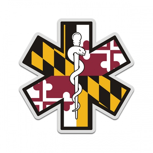 Maryland State Flag Star of Life MD EMT Paramedic EMS Sticker Decal