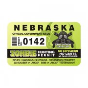 "Nebraska Zombie Hunting Permit 4"" Sticker Decal"