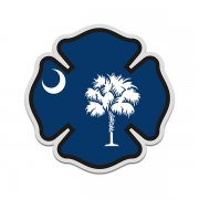 South Carolina State Flag Firefighter Decal SC Fire Maltese Cross Sticker