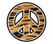 Peace Symbol Tiger Animal Skin Print Sticker Decal