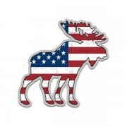 Moose American Flag USA Wildlife Sticker Decal (RH)