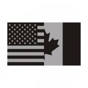 American Canadian Subdued Flag Decal USA Canada Vinyl Sticker