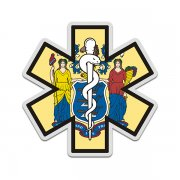 New Jersey State Flag Star of Life NJ EMT Paramedic EMS Sticker Decal