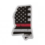 Mississippi State Red Line Decal MS Tattered American Flag Sticker