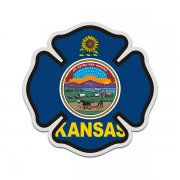 Kansas State Flag Firefighter Decal KS Fire Rescue Maltese Cross Sticker