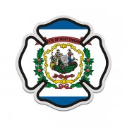 West Virginia State Flag Firefighter Decal WV Fire Maltese Cross Sticker