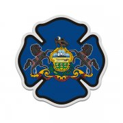 Pennsylvania State Flag Firefighter Decal PA Fire Maltese Cross Sticker