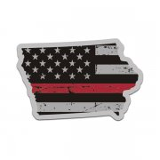 Iowa State Thin Red Line Decal IA Tattered American Flag Sticker