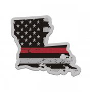 Louisiana State Red Line Decal LA Tattered American Flag Sticker