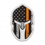 American Flag Thin Orange Line Spartan Helmet Decal SAR Sticker