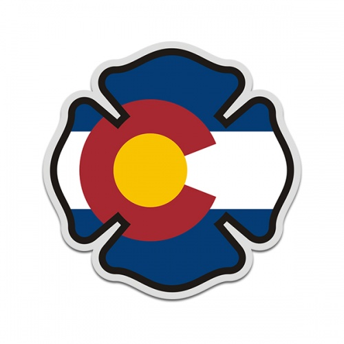 Colorado State Flag Firefighter Decal CO Fire Rescue Maltese Cross Sticker