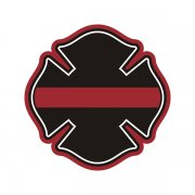 Firefighter Thin Red Line Saint Florian Cross Sticker Decal