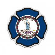 Virginia State Flag Firefighter Decal VA Fire Rescue Maltese Cross Sticker