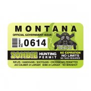 "Montana Zombie Hunting Permit 4"" Sticker Decal"