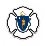 Massachusetts State Flag Firefighter Decal MA Fire Maltese Cross Sticker