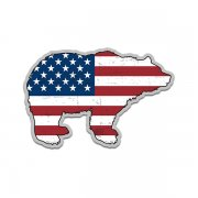 Bear American Flag Grizzly Kodiak USA Sticker Decal (RH)