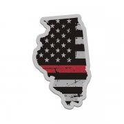 Illinois State Thin Red Line Decal IL Tattered American Flag Sticker