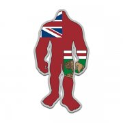 Manitoba Flag Bigfoot Decal MB Sasquatch Big Foot Sticker