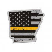 Arkansas State Thin Gold Line Decal AR Tattered American Flag Sticker