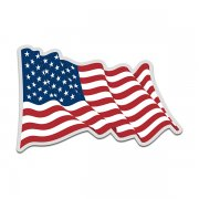American Flag United States US USA Waving Forward Decal Sticker (RH) V4