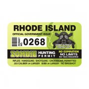 "Rhode Island Zombie Hunting Permit 4"" Sticker Decal"