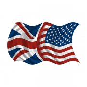 American British Waving Flag Decal USA Union Jack Britain Sticker (LH)