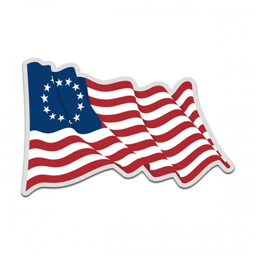 American Revolution Betsy Ross Waving Flag United States Decal Sticker (RH) V4