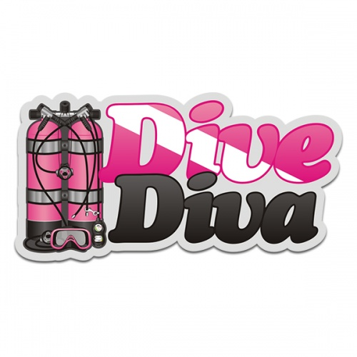 Dive Diva Pink Scuba Diving Sticker Decal