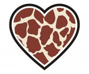 Heart Giraffe Animal Skin Print Sticker Decal