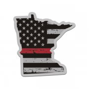 Minnesota State Thin Red Line Decal MN Tattered American Flag Sticker