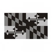 Maryland State Subdued Flag Black/Gray Decal MD Vinyl Sticker
