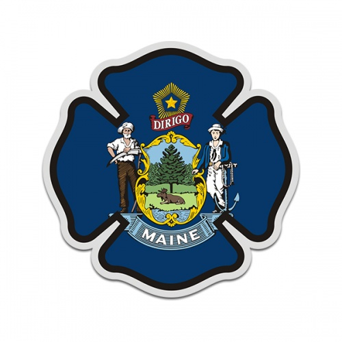 Maine State Flag Firefighter Decal ME Fire Rescue Maltese Cross Sticker