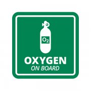Oxygen on Board Industrial Safety O2 Sticker Decal