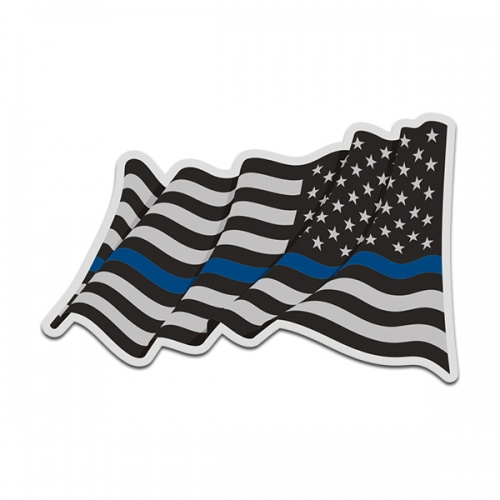 Thin Blue Line American Subdued Waving Flag USA Decal Sticker (LH) V4