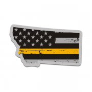 Montana State Thin Gold Line Decal MT Tattered American Flag Sticker