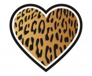 Heart Leopard Animal Skin Print Sticker Decal