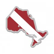 Ontario Province Shaped Dive Flag Decal Canada ON Map Vinyl Sticker