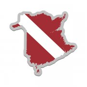 New Brunswick Province Shaped Dive Flag Decal Canada NB Map Vinyl Sticker