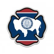 Wyoming State Flag Firefighter Decal WY Fire Rescue Maltese Cross Sticker