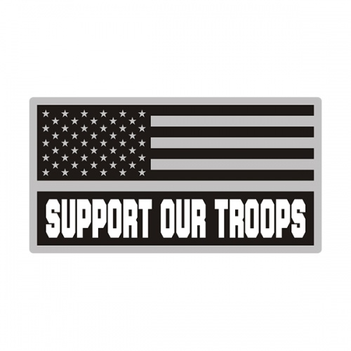 American Support Our Troops Gray Black Subdued Flag Decal Sticker V3