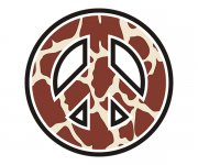 Peace Symbol Giraffe Animal Skin Print Sticker Decal