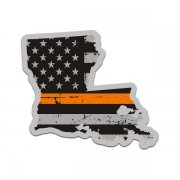 Louisiana State Thin Orange Line Decal LA Tattered American Flag Sticker